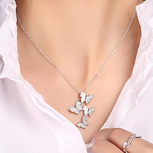 XINSHUN Real 925 Sterling Silver Long Zircon Butterfly Necklaces Pendant Fashion Sterling Silver Jewelry Statement Chain…