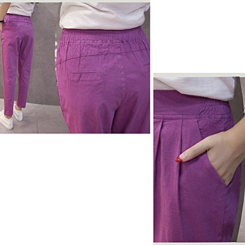 Zhhlinyuan Fashion Pantalones Women Harlan Pants Loose Waist Pant Cotton and Linen Feet Bare Trousers Blue