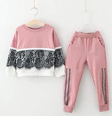 colore: rosa Set di felpa per bambina set di due pezzi con lettere pantaloni lunghi DaMohony