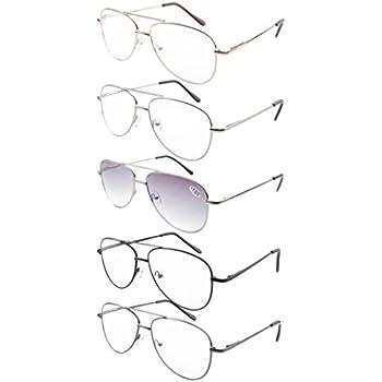 9f9df48f0b Eyekepper 5-Pack Pilot Style Metal Frame Spring Hinges Reading Glasses Sun  Readers +1.75