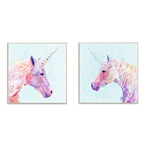(The Kids Room by Stupell Painted Mystic Unicorns Portraits 2pc Wall Plaque Art Set, 12 x 0.5 x 12, Proudly Made in USA)