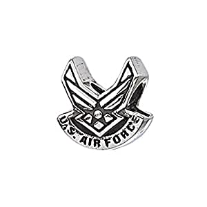 """Genuine Zable (TM) Product. 925 Sterling Silver """"US Air Force"""" Wings Bead Charm. 100% Satisfaction Guaranteed."""