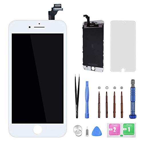 Screen Replacement for iPhone 8 4.7 inch White 3D Touch Digitizer Frame Display Assembly Set with Repair Tools + Free Screen Protector