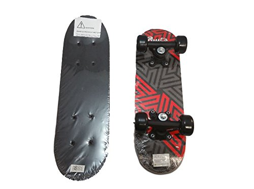Paul's Quality Gear 17 inch Wooden Skateboard – Red & Gray Geometric Design