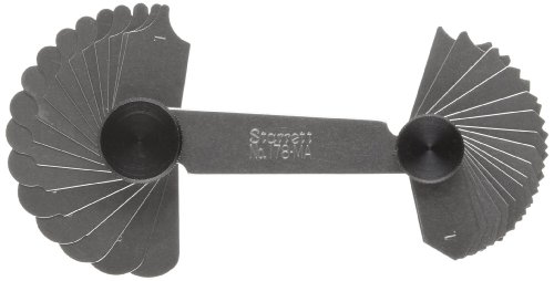 Starrett 178MA Millimeter Reading Fillet Or Radius Gauge With Locking Device, 1-7mm Range, 0.25mm And 0.5mm Increments, 34 Leaves