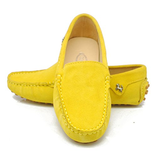 Meijili Women's Suede Loafer Flats Driving Moccasin Work Comfortable Casual Shoes Yellow Td01WCsi