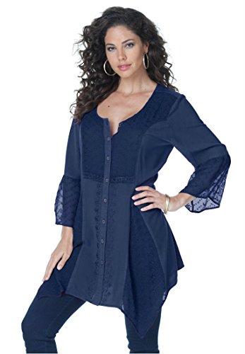 Roamans Women's Plus Size Acid Wash Bigshirt (Indigo,14 W)