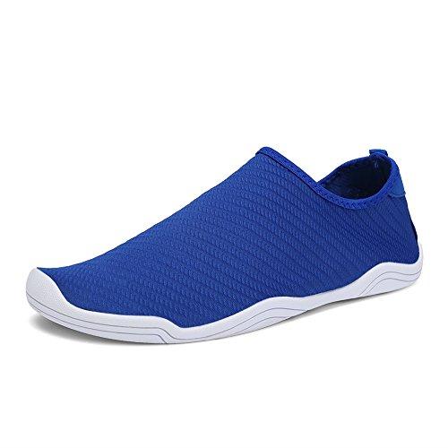 FCKEE Water Shoes Aqua Schuhe Slip-On Barfuß Leicht Leicht Quick-Dry Drainage Haltbare Sohle Mutifunktional für Beach Pool Surfen Frauen Männer T-blau