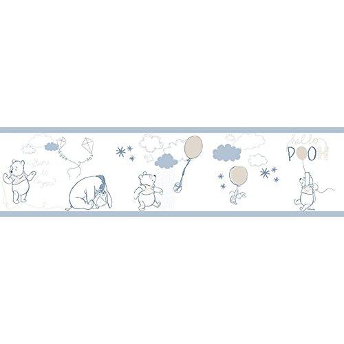 Bordüre selbstklebend Kinderzimmer hellblau weiß und taupe aus Papier Glanz waschbar Winnie the Pooh Disney Fantasy Deco Dandino wp3521–1. Rasch textil