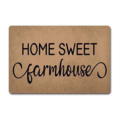 Home Sweet Farmhouse Doormat Welcome Door Rugs Funny Farmhouse Door Mats (23.6 X 15.7 in) Non-Woven Fabric Top with a Anti-Slip Rubber Back Door Rugs Target Doormat ()