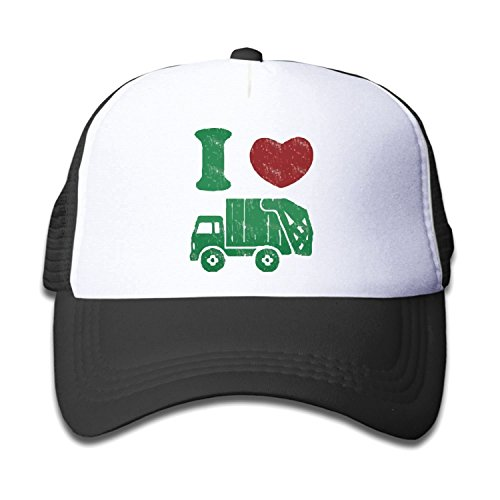 Waldeal Children's I Love Trash Garbage Trucks Hat Mesh Cap Black ()