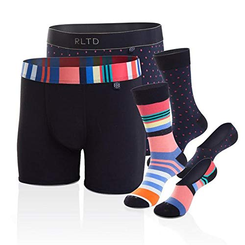 Casual Socks Set - Related Garments Men's Matching Underwear and Sock Set, 6 Piece (2 Pack), Boxer Briefs, No Show and Mid Calf Crew Casual Dress Socks, Colorful Modern Trendy Gift