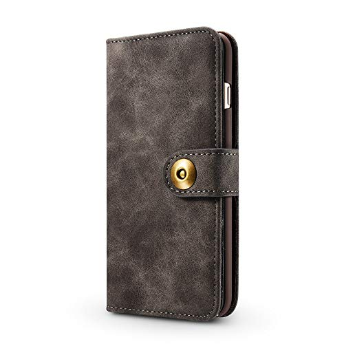 iPhone Samsung Galaxy Sony Wallet Phone Case SITCO Vintage Wallet Leather Case Removable Back Cover Flip Wallet & Back Case Detachable iPhone SE Retro Cover Credit Card Slots Black