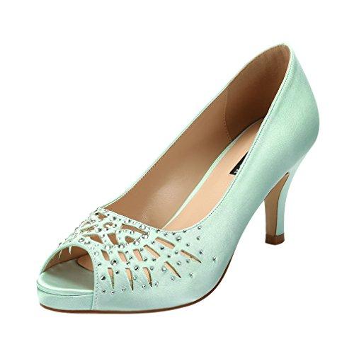 ERIJUNOR E1941 Women Peep Toe Comfort Low Heel Platform Rhinestones Satin Wedding Bridal Evening Shoes Mint Size 8