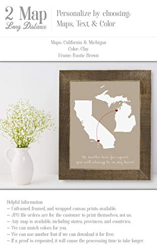 Long Distance Family Going Away Gift for Daughter Aunt Wedding Gift Moving Announcement Custom 2 Map Artwork Distance Graduation Poster Art No-Frame