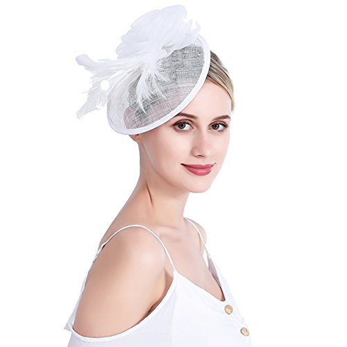 inSowni Flower Tea Party Sinamay Fascinators Hat Cap Feather Mesh Headband Clip for Women Girls (White S2) by inSowni (Image #1)