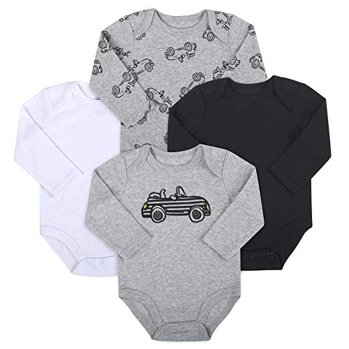 Baby Essentials 4-Pack Long Sleeved Bodysuits (9 Month, Car)