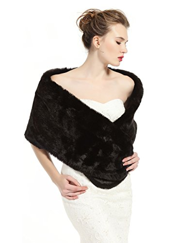 - BEAUTELICATE luxury Bridal Party Evening/Wedding Faux Fur Shawl Wrap Stole-S51(Black), 63