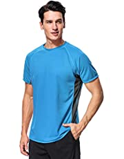 Anferry Mens Short Sleeve Rash Guard Shirts UV Protection Loose Fit Swimsuit
