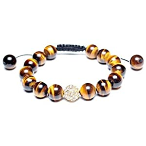 Bling Jewelry Shamballa Inspired Bracelet Simulated Tiger Eye Beads Crystal Ball 12mm Alloy