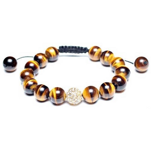 Bling Jewelry Brown Tiger Eye Pave Crystal Ball Beads Shamballa Inspired Bracelet for Women Black Cord String Adjustable