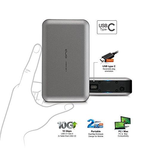 "Mediasonic ProRaid USB-C 2 Bay 2.5"" SATA SSD / Hard Drive Enclosure – USB 3.1 Gen-II 10Gbps Speed / USB Type C (HUR6-SU31C Grey) by Mediasonic (Image #2)"
