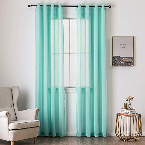 (MIULEE 2 Panels Turquoise Semi Sheer Window Curtains Elegant Grommet Top Window Voile Panels/Drapes/Treatment Linen Textured Panels for Bedroom Living Room (54X84)