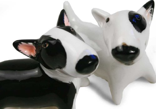 Bull Terrier Mini White And Black Handmade Cruet Set (6cm x 6cm) by Blue Witch (Image #1)