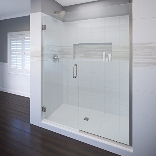 (Basco Celesta Shower Door, Fits 58.06 - 59 in. Opening, Clear Glass, Brushed Nickel Finish)