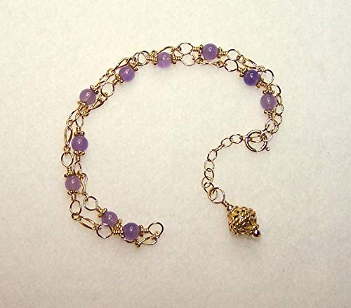 Amethyst Anklet, Purple and Gold Ankle ()