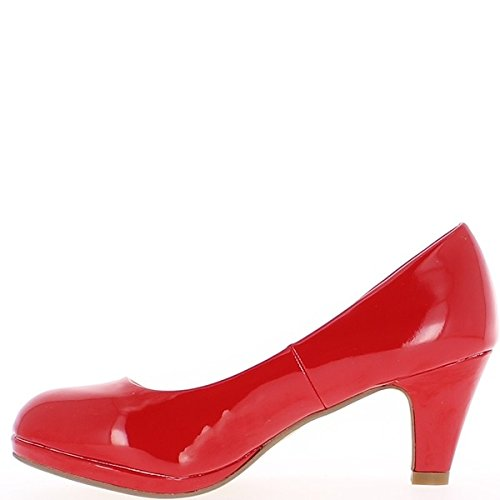 Rojo clásico zapatos tacones polacos de 6,5 cm y 1 bandeja cm