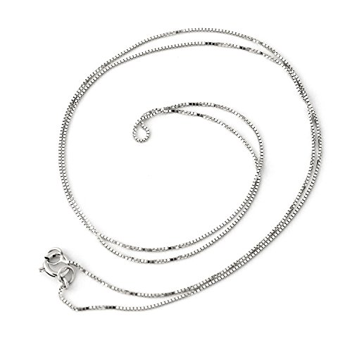 14k White Gold 0.50mm Box Chain Necklace, 20
