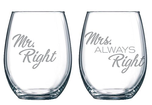 Mr. Right Mrs. Always Right 21 oz. Etched Stemless Wineglasses | 2 Glass Set Packaged in a Striking Gift Box | The Perfect Wine Gift | Weddings | Showers | Birthdays | Holidays | Couples Gifts.