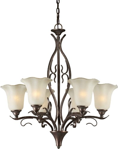 (Forte Lighting 221151 2505-06-27 Chandelier with Shaded Umber Glass Shades, 26.5