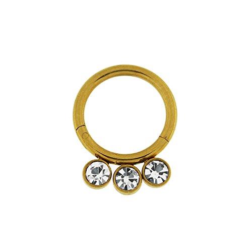 14 Gauge - 8MM Diameter Gold Anodized G23 Grade Titanium Triple Bezel Set CZ Stone Hinged Segment Ring Body Piercing Jewelry