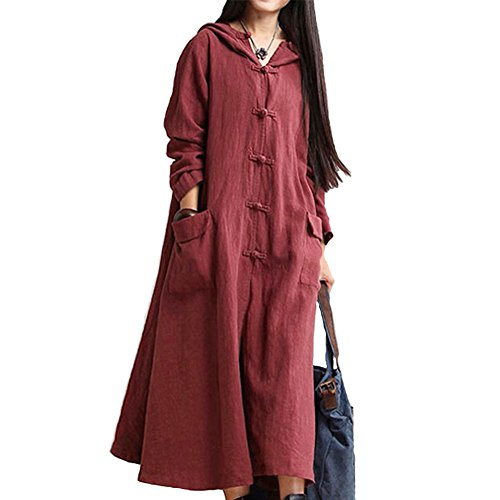 Robe Manteau Pur Coton Linge Grande Taille Manches Longues Robe Manteau Vin Rouge
