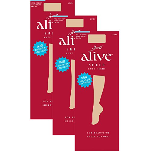 Hanes womens Alive Full Support Sheer Knee Highs 2-Pack(0A446)-Little Color-1 Size-3PK