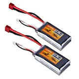 FLOUREON 2S 7.4V 1500mAh 35C Lipo RC Battery with Hard Case T Plug for RC Cars, Truck, Truggy, Traxxas, Helicopter, Drone Loved by Hobby Fans (2 Packs)