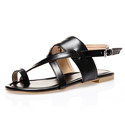 TAOFFEN Women Strappy Split Toe Buckle Strap Slingback Summer Flat Sandals Black Fd9gXtS