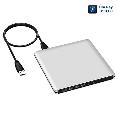 Burners Hard (4K External Blu Ray Drive, TopElek USB3.0 Hard CD/DVD Burner/Writer, 3D 6x Blu-Ray Disc Playback, Slim & Super-Fast for Windows, Mac OS Laptop, PC, Computer, Silvery)