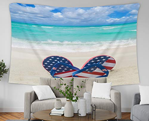 Pamime Colorful Tapestry Wall Hanging, Home Decor Tapestry Patriotic USA Background Flip Flops Decatis The Sy Beach Dorm Room Bedroom Living Room 80X60 Inches(200X150Cm) Bedspread Inhouse