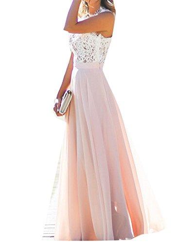 Lace Maxi Evening Floral BLTR Women Dress Pink Bridesmaid Wedding Retro Chiffon Party qgZtz