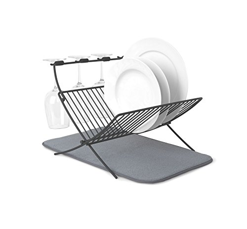 Umbra XDRY Dish Drying Rack and Microfiber Dish Mat – Space Saving Lightweight Design, Folds Up For Easy Storage, Charcoal ()