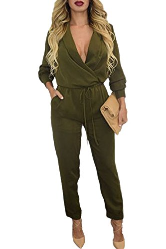 Made2envy Army Green Long Sleeve Jumpsuit (S, Green) LC60680SG