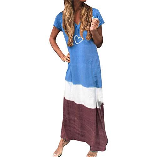 QueenMMSummer Bohemian Maxi Dresses for Women Comfort Cotton Linen Sundress Color Block Heart Boho Dress Blue