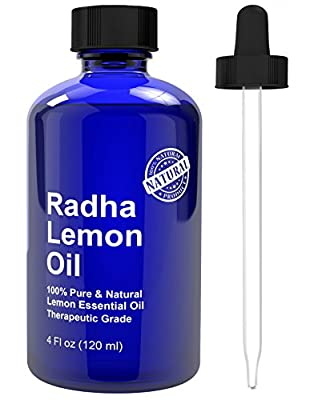 Radha Beauty Lemon Essential Oil 4 Oz - 5x Extra Strength 100% Pure & Natural Therapeutic Grade - Steam Distilled Premium Quality Oil from Italy by Radha Beauty Products LLC