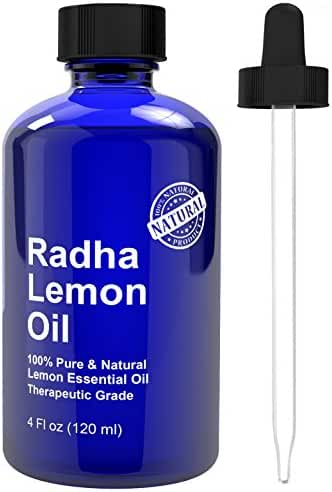 Radha Beauty Lemon Essential Oil 4 Oz - 5x Extra Strength 100% Pure & Natural Therapeutic Grade - Steam Distilled Premium Quality Oil from Italy