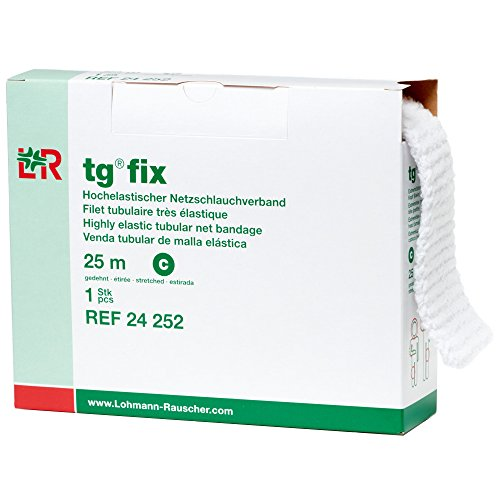 - Lohmann & Rauscher tg Fix Net Tubular Bandage, Elastic Net Wound Dressing, Bandage Retainer for Large Extremities, Size C (65.0 cm When Stretched x 2.5 m)