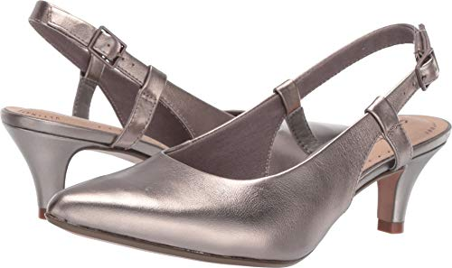 CLARKS Women's Linvale Loop Pump, Pewter Leather, 075 W -