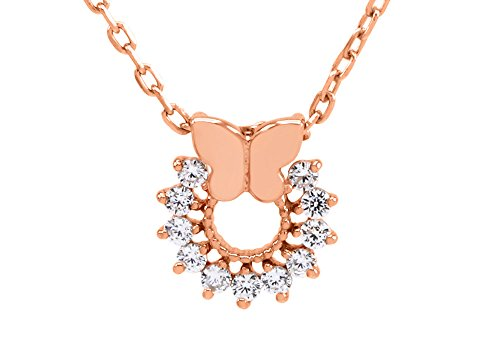 - Jewel Zone US 14K Rose Gold Over Sterling Silver Butterfly Open Circle Pendant Necklace